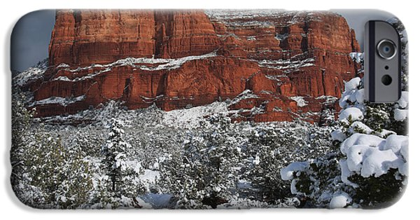 States iPhone Cases - Snow In Sedona iPhone Case by Donna Kennedy