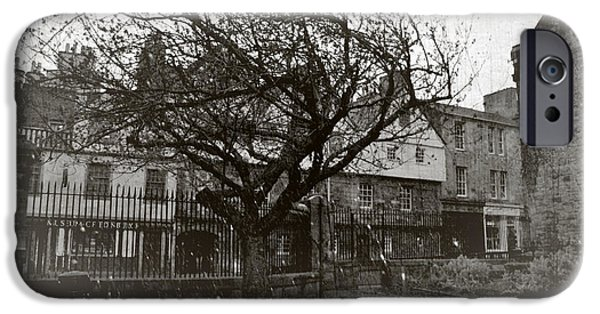 White House Pyrography iPhone Cases - Snowing on the Queens tree iPhone Case by Miryam  UrZa