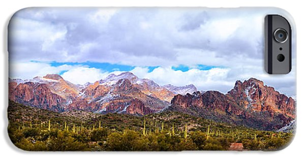 Winter Storm iPhone Cases - Snow in the Superstitions iPhone Case by Rick Furmanek