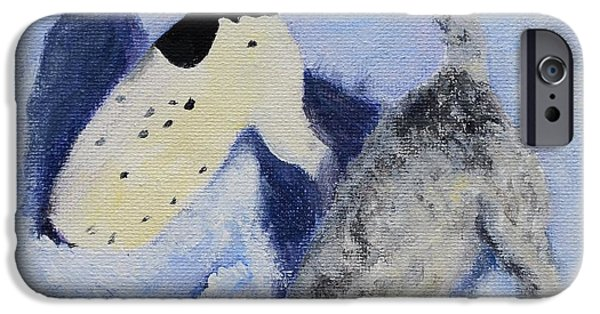 Dogs In Snow. Paintings iPhone Cases - Snow Jacks iPhone Case by Linda Freed