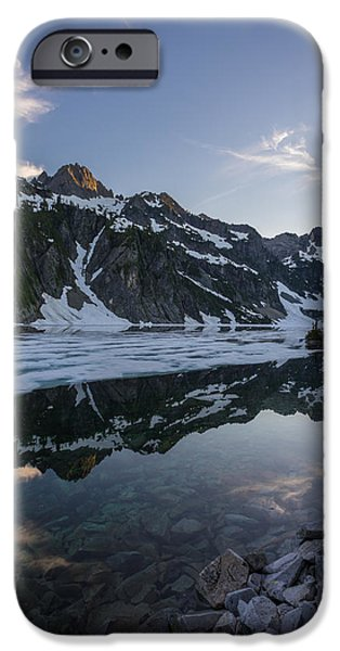 Snow iPhone Cases - Snow Lake Clouds Dancing iPhone Case by Mike Reid