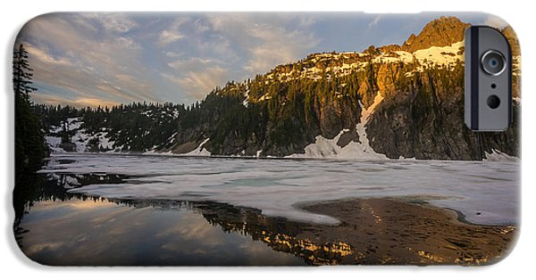 Snow iPhone Cases - Snow Lake Frozen Edges iPhone Case by Mike Reid