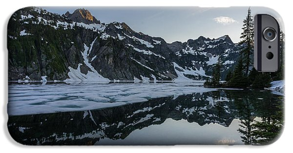 Snow iPhone Cases - Snow Lake Light Clouds iPhone Case by Mike Reid