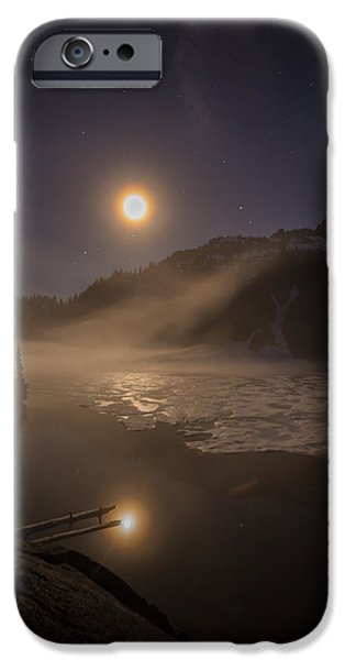 Snow iPhone Cases - Snow Lake Moondance iPhone Case by Mike Reid