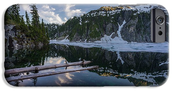 Snow iPhone Cases - Snow Lake Peaceful Dusk iPhone Case by Mike Reid