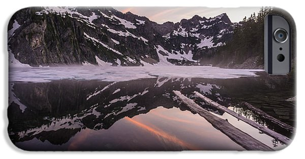 Snow iPhone Cases - Snow Lake Sunset and Logs iPhone Case by Mike Reid