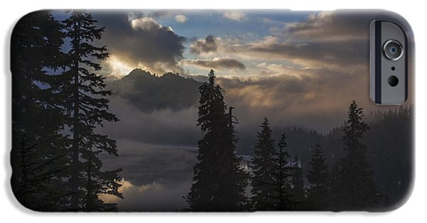 Snow iPhone Cases - Snow Lake Sunset iPhone Case by Mike Reid
