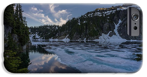 Snow iPhone Cases - Snow Lake Traces of Winter iPhone Case by Mike Reid