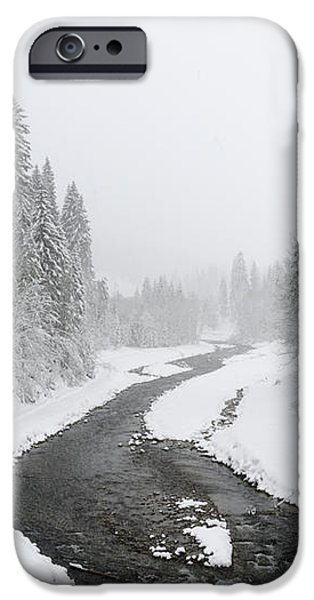 Snow Landscape - Trees and river in winter iPhone Case by Matthias Hauser
