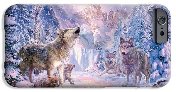 Wolf Digital Art iPhone Cases - Snow Landscape Wolves iPhone Case by Jan Patrik Krasny