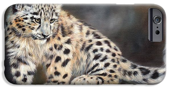 Tibet iPhone Cases - Snow Leopard Cub iPhone Case by David Stribbling