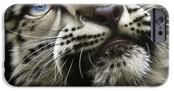 Tibet iPhone Cases - Snow Leopard Cub iPhone Case by Jurek Zamoyski