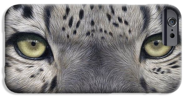 Snow iPhone Cases - Snow Leopard Eyes Painting iPhone Case by Rachel Stribbling