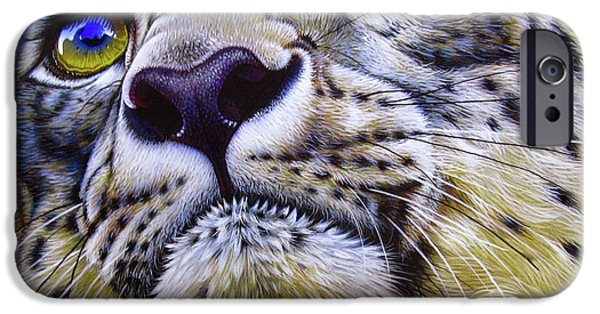 Snow iPhone Cases - Snow Leopard iPhone Case by Jurek Zamoyski