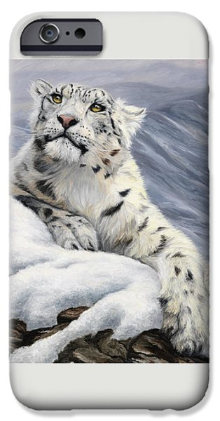 Snow iPhone Cases - Snow Leopard iPhone Case by Lucie Bilodeau