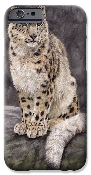 Snow iPhone Cases - Snow Leopard Sentry iPhone Case by David Stribbling