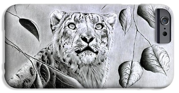 Nature Study iPhone Cases - Snow Leopard iPhone Case by Sherif Hakeem