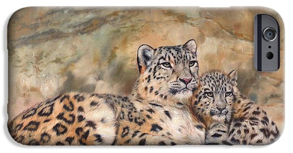 Snow iPhone Cases - Snow Leopards iPhone Case by David Stribbling