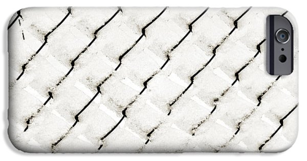Wintertime iPhone Cases - Snow Link Fence iPhone Case by Andee Design