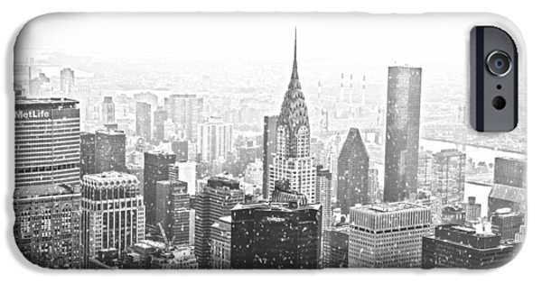 Winterscape iPhone Cases - Snow - New York City Skyline iPhone Case by Vivienne Gucwa