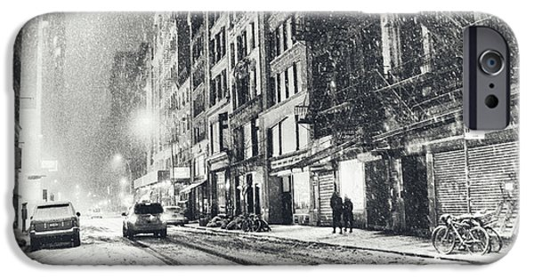 Bryant Photographs iPhone Cases - Snow - New York City - Winter Night iPhone Case by Vivienne Gucwa