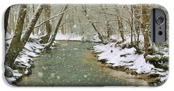 Snow Scene iPhone Cases - Snow On Butternut Creek iPhone Case by Kenny Francis