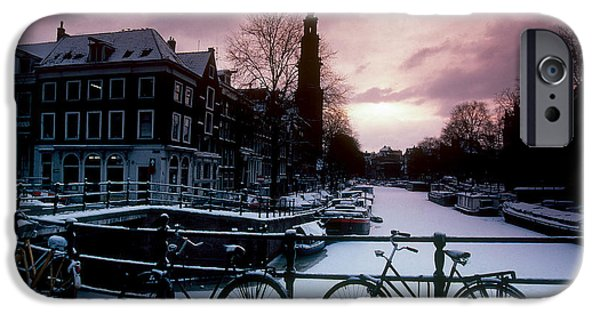 Snow Scene iPhone Cases - Snow On Canals. Amsterdam, Holland iPhone Case by Farrell Grehan