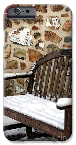 East Village iPhone Cases - Snow on the Bench iPhone Case by John Rizzuto