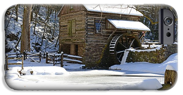 Grist Mill iPhone Cases - Snow on the Fence iPhone Case by Paul Ward