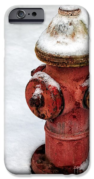 East Village iPhone Cases - Snow on the Hydrant iPhone Case by John Rizzuto