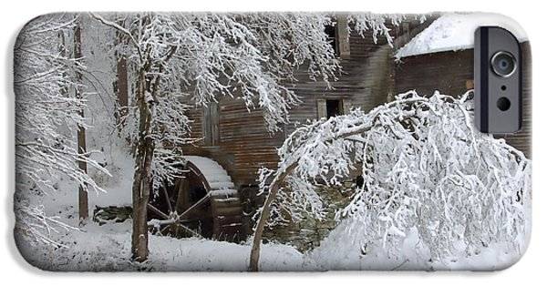 Grist Mill iPhone Cases - Snow on the Mill iPhone Case by Benanne Stiens