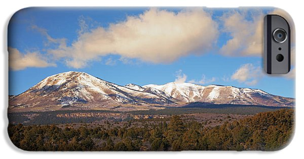 Fresh Snow iPhone Cases - Snow on the Peaks iPhone Case by Mike Dawson