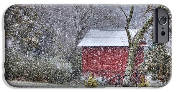 Red Barn In Snow iPhone Cases - Snow on the Shed iPhone Case by Benanne Stiens