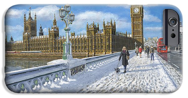 Ma iPhone Cases - Snow on Westminster Bridge iPhone Case by MGL Meiklejohn Graphics Licensing
