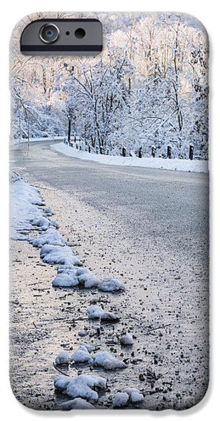 Cold Weather iPhone Cases - Snow on winter road iPhone Case by Elena Elisseeva