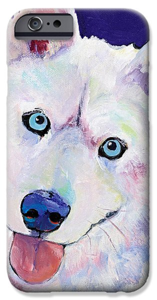 Husky iPhone Cases - Snow iPhone Case by Pat Saunders-White
