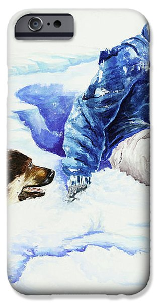 Snow Play Sadie and Andrew iPhone Case by Carolyn Coffey Wallace