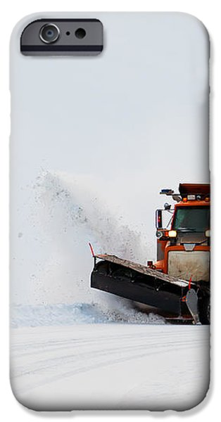 Snow plough clearing road in winter storm blizzard iPhone Case by Stephan Pietzko