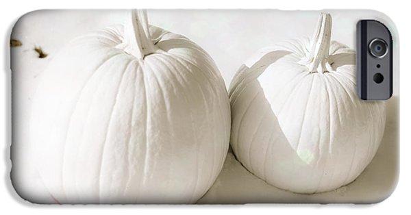 Thanksgiving Digital iPhone Cases - Snow Pumpkins iPhone Case by Sonja Quintero