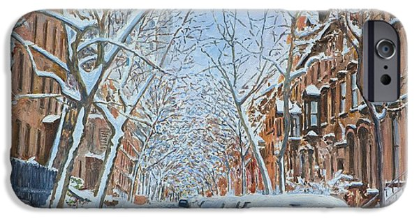 Fine Artwork iPhone Cases - Snow Remsen St. Brooklyn New York iPhone Case by Anthony Butera