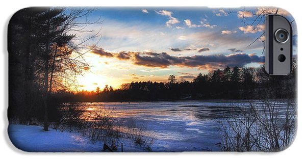 Snow Scene iPhone Cases - Snow Scene Holiday Card 3 iPhone Case by Joann Vitali