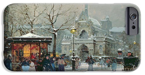 Old-fashioned iPhone Cases - Snow Scene in Paris iPhone Case by Eugene Galien-Laloue