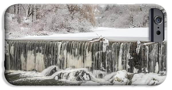 Winter In Maine iPhone Cases - Snow Sleet And Freezing Rain On The Falls iPhone Case by Stroudwater Falls Photography