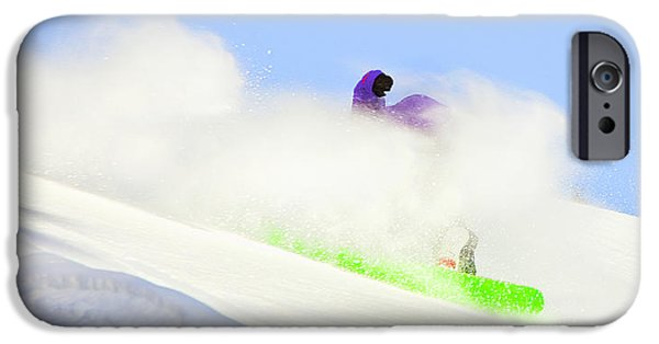 Skiing Art iPhone Cases - Snow Spray iPhone Case by Theresa Tahara
