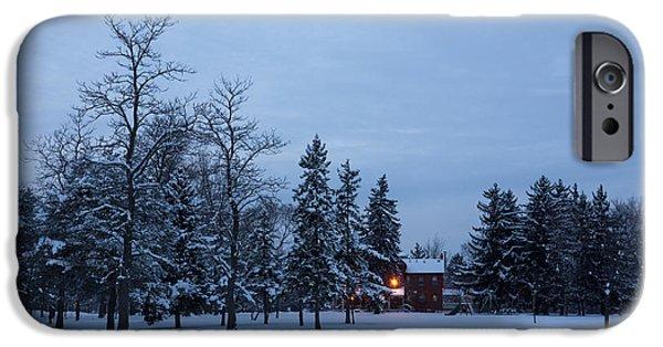 Snowy Day iPhone Cases - Snow Stillness and Warm House Lights iPhone Case by Georgia Mizuleva