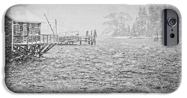 Down East iPhone Cases - Snow Storm in Bass Harbor on Mount Desert Island Maine iPhone Case by Keith Webber Jr