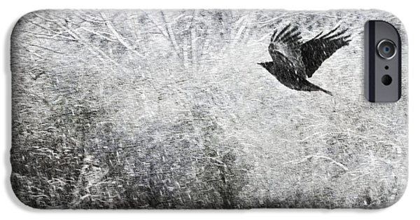 Snowscape iPhone Cases - Snow Storm With Crow iPhone Case by Theresa Tahara