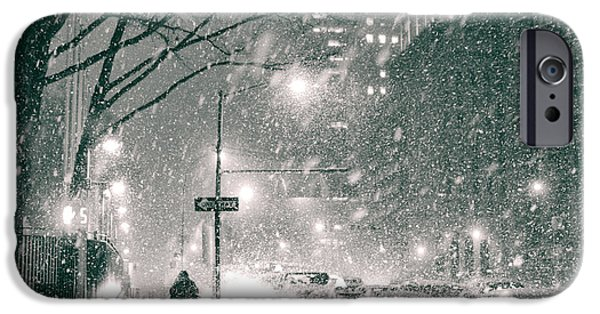 Snowy Night Photographs iPhone Cases - Snow Swirls at Night in New York City iPhone Case by Vivienne Gucwa