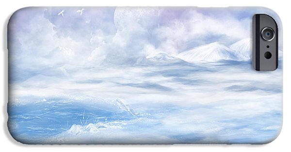 Moon Glass Art iPhone Cases - Snow valley iPhone Case by Nika Lerman