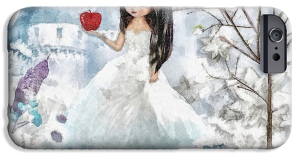 Berry Mixed Media iPhone Cases - Snow White iPhone Case by Mo T